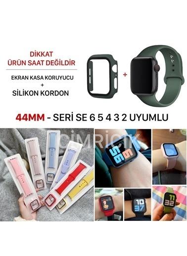Cimricik Apple Watch Kordon 44 mm 2 3 4 5 6 SE Seri Uyumlu Silikon Kordon + Camlı Kasa Koruyucu Kırmızı
